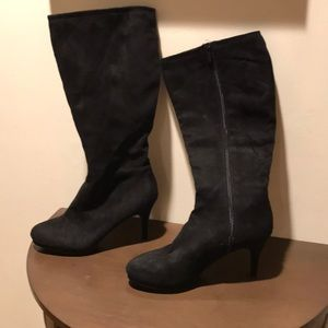 Micro faux suede black knee high boots